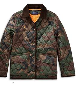 NWT Ralph Lauren Polo Big Boys Quilted Car Coat Jacket Camou