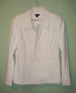 NWT East 5th Winter Off White Wool Blend Lined Dress Blazer