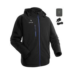 ORORO Men's Soft Shell Heated Jacket with Detachable Hood an