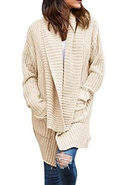 Imily Bela Women's Oversized Long Sleeve Shawl Collared Open