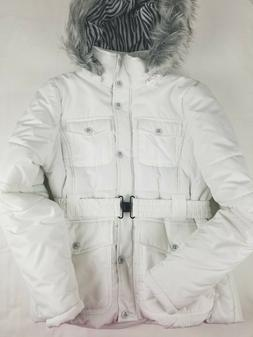 Dollhouse Outerwear Padded White Coat Size M with Faux Fur T