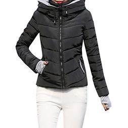 Parka Jacket,Women's Thick Outerwear Hooded Short Slim Cotto