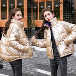Parkas Women Solid Stand Collar Bright Black <font><b>Pink</