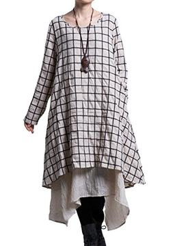 plaid layers irregular hem dress