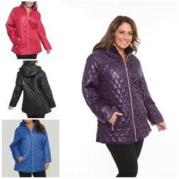White Mark Plus Size Casual Puffer Winter Coat Jacket With H
