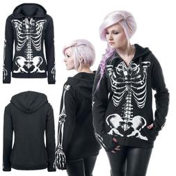 Plus Size Women Skull Gothic Punk Hooded Hoodies Winter Coat