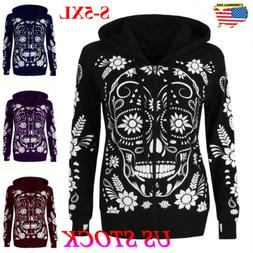 plus size women skull long sleeve hooded