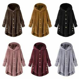 plus size womens winter hooded fluffy fleece