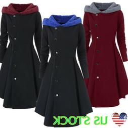 Plus Size Womens Hoodie Button Long Tops Coats Jacket Winter