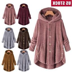 4d2a2b1c7b5 Plus Size Womens Winter Hooded Fluffy Coat Fleece Fur Jacket