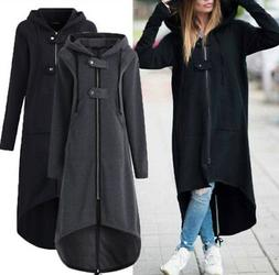 f52621228da Plus Size Womens Winter Hooded Long Trench Coat Warm Fleece