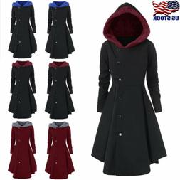 Plus Size Womens Winter Warm Long Peacoat Coats Hooded Trenc