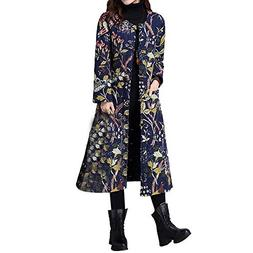 Franterd Plus Size Winter Coat Ethnic Frog Button Down Jacke