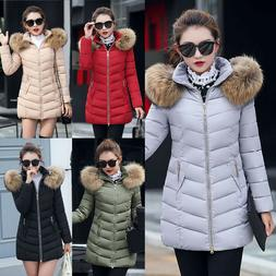 Plus Women Casual Winter Coat Fur Collar Hooded Down Cotton