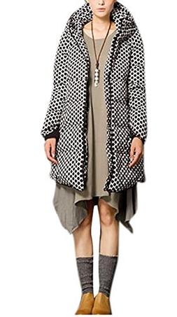 Enlishop Women's Polka Dot Thicken Quilted Down Coat Hooded