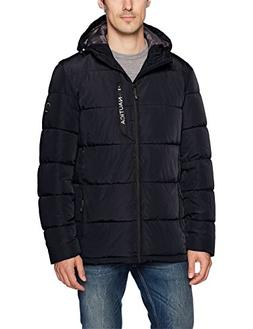 Nautica Men's Quilted Hooded Parka Jacket, Navy, L