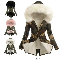 Removeable Fur Collar Padded Coat Women Winter Parka Hooded