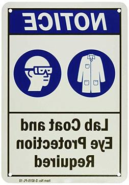 Iliogine Rustic Metal Sign Post Caution Lab Coat and Eye Pro