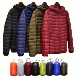 S-4XL Packable Men's Ultralight Hooded Duck Winter Coat Down