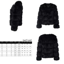 Simplee Women Luxury Winter Warm Fluffy Faux Fur Short Coat