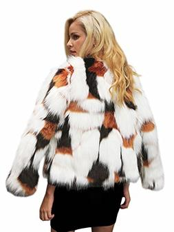 Simplee Women's Winter Long Sleeve Thick Faux Fur Coat Outwe