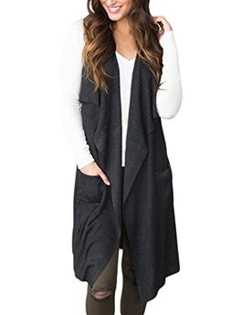 Sidefeel Women Sleeveless Open Front Knitted Long Cardigan S
