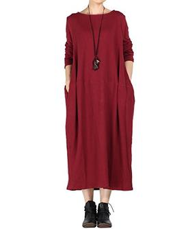 Mordenmiss Women's New Spring/Fall Round Neck Pullover Dress