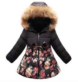 SS&CC Girls' Long Flower Printing Bowknot Winter Hooded Down