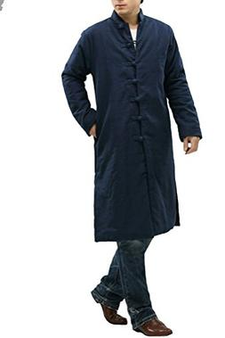 Mordenmiss Men's New Stand Collar Linen Button Down Coat Ove