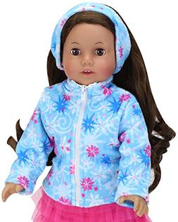 Star Print Fleece Jacket with Matching Earmuffs for 18 Inch