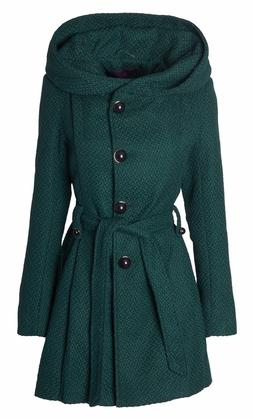 Sportoli Stylish Womens Wool Blend Belted Winter Dress Drama