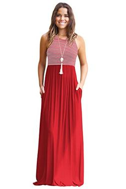 Mintsnow Women's Summer Sleeveless Striped Pockets Flowy Cas