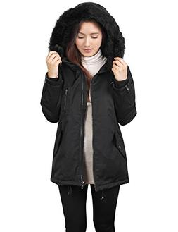 KOGMO Womens Thick Anorak Down Jacket Parka With Faux Fur Ho