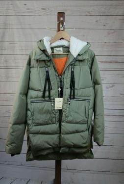 Orolay Thickened Duck Down Zip Up Womens XL Army Green Jacke
