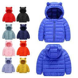 Toddler Babys Boys Girl Winter Warm Outerwear Hooded Coat Ki
