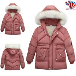 Toddler Baby Girls Winter Warm Coat Kid Fur Hooded Windproof