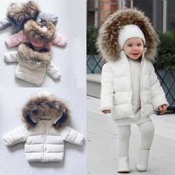 Toddler Kids Baby Boys Girls Winter Warm Faux Fur Hooded Jac