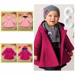 Toddler Kids Baby Girl Winter Trench Coat Hooded Button Oute