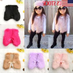 Toddler Kids Baby Girl Winter Warm Coat Faux Fur Vest Outerw