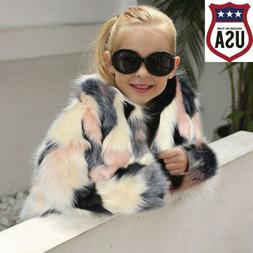 Toddler Kids Girl Winter Clothes Fluffy Faux Fur Thick Coat
