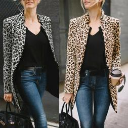 US Leopard Jacket Women Sweater Top Warm Blazer Winter Cardi
