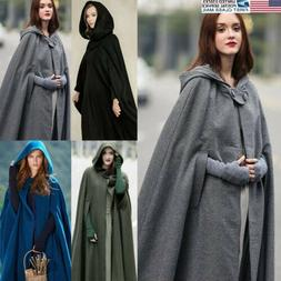 us stock women winter hooded blend long