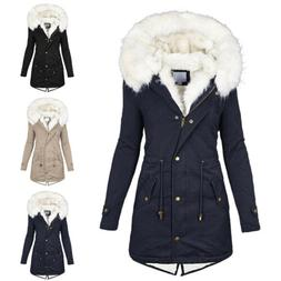 US Women Fur Collar Winter Warm Thicken Quilted Coat Puffer