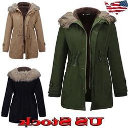 US Women's Warm Long Coat Fur Collar Hooded Jacket Slim Wint