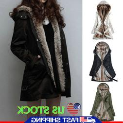 US Women Thick Winter Coats Hooded Parka Faux Fur Overcoat L