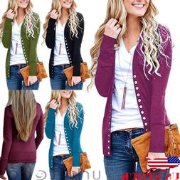 US Women V-Neck Button Down Knitwear Long Sleeve Soft Knit S