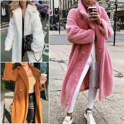 US Women Warm Teddy Bear Maxi Trench Coat Winter Long Faux F