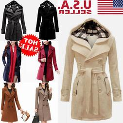US Women Winter Hoodie Long Peacoat Thin Coat Trench Outwear