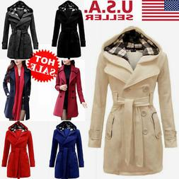 US Women Winter Trench Outwear Jacket Hoodie Long Peacoat Th