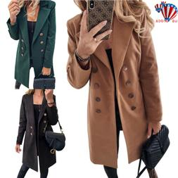US Womens Overcoat Woolen Trench Coat Blazer Ladies Winter L